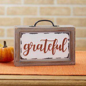 "New Enamel Block Sign- ""Grateful"""